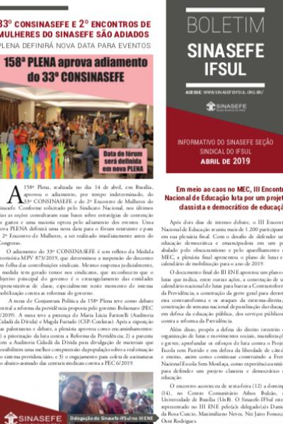 Boletim Sinasefe-IFSul | Abril 2019